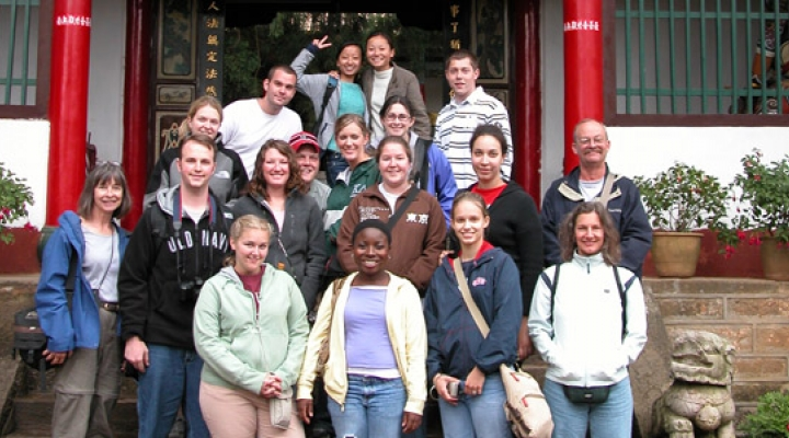 Group of students on a Study Abroad Trip with faculty member, Kelli Carmean